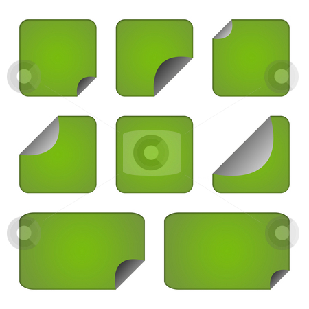 Set of green stickers or labels stock photo, Set of eco green stickers or labels with copy space isolated on white background. by Martin Crowdy