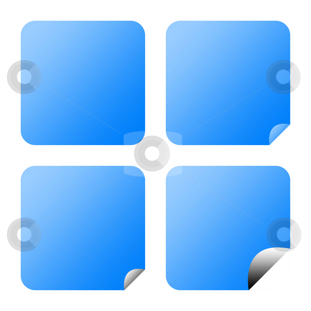 Blank blue buttons stock photo, Set of blank blue buttons with upturned corners, isolated on white background. by Martin Crowdy