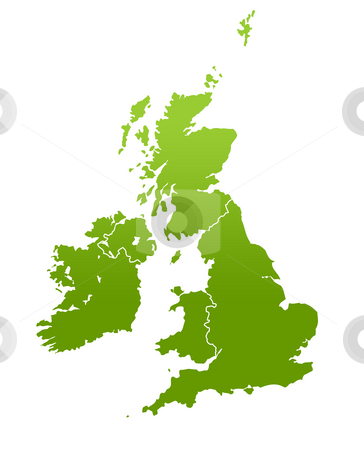 UK and Ireland map stock photo, United Kingdom and Ireland map in green, isolated on white background. by Martin Crowdy