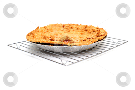 Apple Pie Cooling stock photo, Fresh apple pie cooling on a metal wire rack on a light colored background by Lynn Bendickson