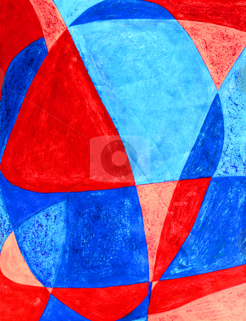 LOVE in abstract background art stock photo, Each letter in the word LOVE is written on top of one another and the spaces created are filled in with red, pink, dark blue and light blue acrylic paint with texture. by Lee Serenethos