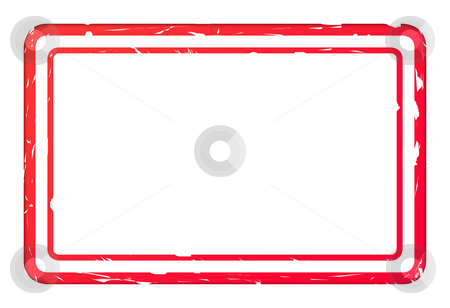 Blank red used business stamp stock photo, Blank red used business stamp isolated on white background with copy space. by Martin Crowdy