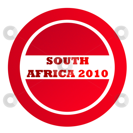 Textured South Africa 2010 stamp stock photo, Textured South Africa 2010 red stamp isolated on white background with copy space. by Martin Crowdy