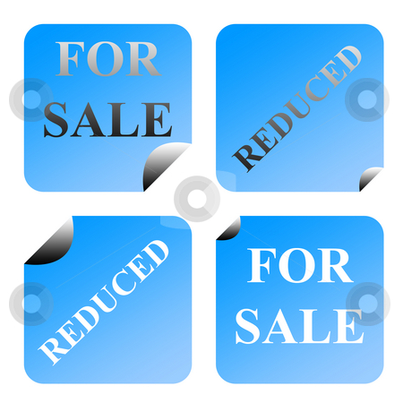 For sale and reduced labels stock photo, Set of four partially peeled gradient blue for sale and reduced labels or stickers, isolated on white background. by Martin Crowdy