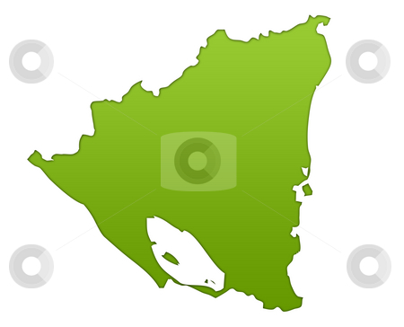 Nicaragua map stock photo, Nicaragua map in gradient green, isolated on white background. by Martin Crowdy