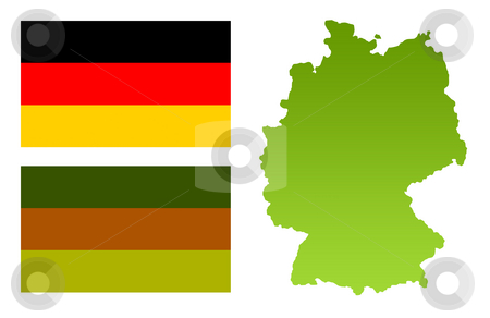 Germany map and eco flag stock photo, Germany map with green eco flag, isolated on white background. by Martin Crowdy