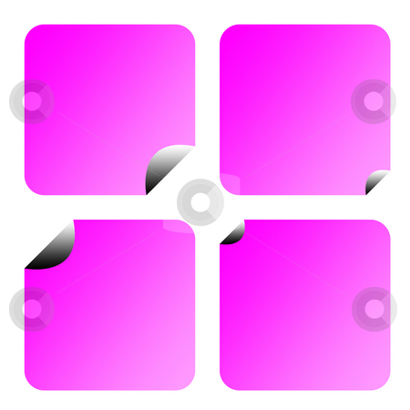 Blank lilac stickers or labels stock photo, Blank lilac stickers or labels with copy space isolated on white background. by Martin Crowdy