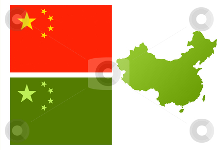 China eco flag and map stock photo, Map of China with green eco flag, isolated on white background. by Martin Crowdy