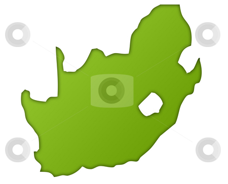 South Africa map stock photo, South Africa map in gradient green, isolated on white background. by Martin Crowdy