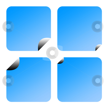 Blue labels or stickers stock photo, Set of four partially peeled gradient blue labels or stickers, isolated on white background. by Martin Crowdy