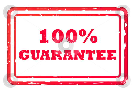 100% Guarantee stamp stock photo, 100% guarantee red used business stamp isolated on white background. by Martin Crowdy