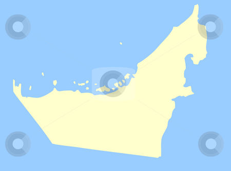 United Arab Emirates map stock photo, Map of United Arab Emirates isolated on a blue background. by Martin Crowdy