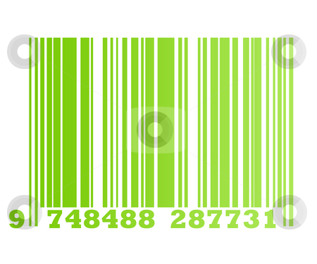 Eco green bar code stock photo, Eco gradient green retail bar code, isolated on white background. by Martin Crowdy