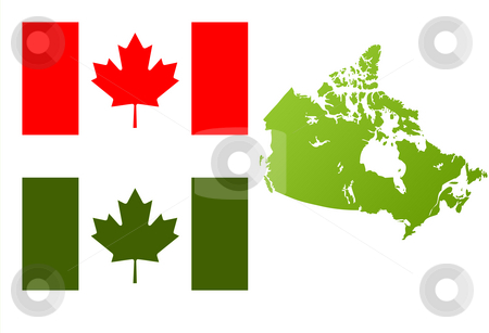 Canada eco flag and map stock photo, Map of Canada with green eco flag, isolated on white background. by Martin Crowdy