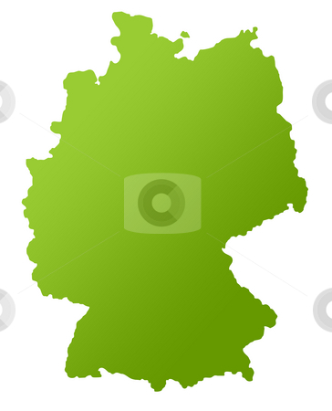 Map of Germany stock photo, Map of Germany in green, isolated on white background. by Martin Crowdy