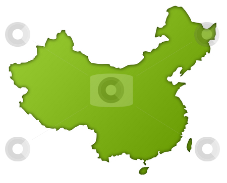China map stock photo, Republic of China map in gradient green, isolated on white background. by Martin Crowdy