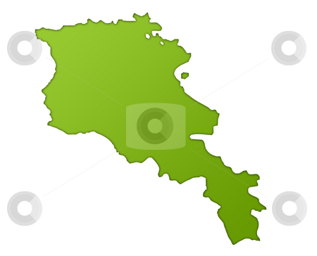 Armenia map stock photo, Armenia map in gradient green, isolated on white background. by Martin Crowdy