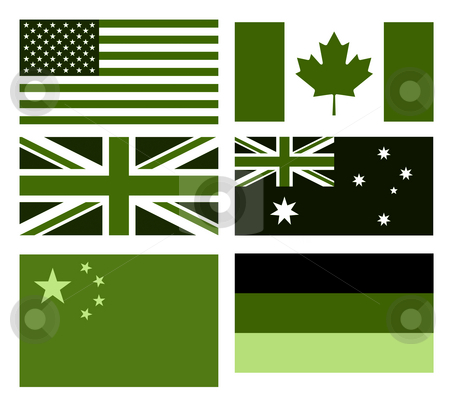 Set of eco flags stock photo, Set of major country flags in eco green colors, isolated on white background. by Martin Crowdy