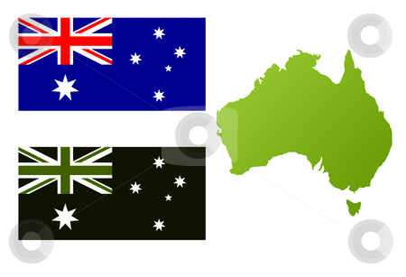 Australian eco flag and map stock photo, Map of Australia with green eco flag, isolated on white background. by Martin Crowdy