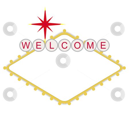 Blank welcome to Las Vegas sign stock photo, Blank welcome to Las Vegas neon sign, isolated on white background. by Martin Crowdy