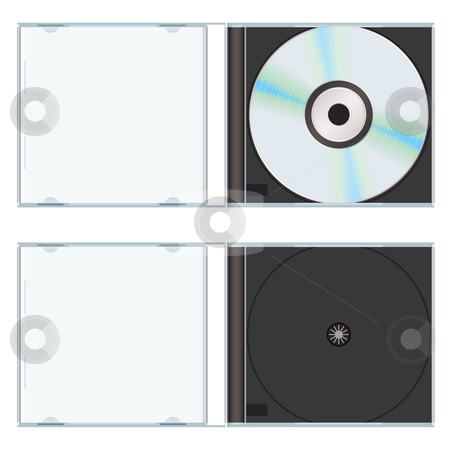 Music cd case empty stock vector clipart, Music or computer cd with plastic case open and empty by Michael Travers