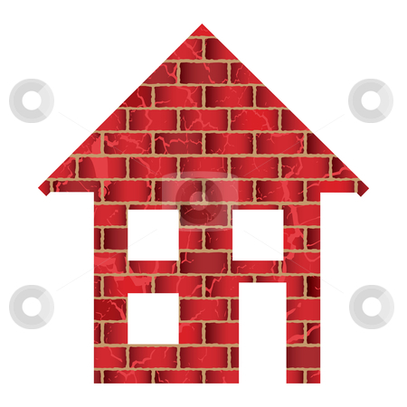 Red brick house stock vector clipart, Red brick house or home with roof and windows by Michael Travers