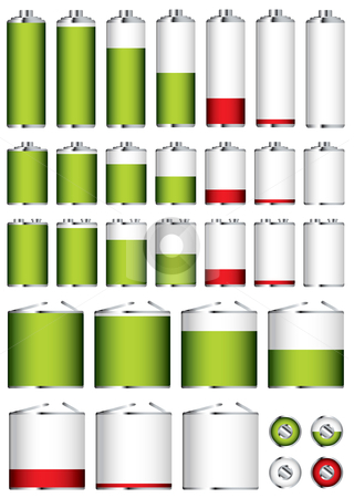 Battery collection sizes stock vector clipart, Collection of different battery sizes and shapes with charge levels by Michael Travers