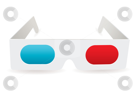 3d glasses stock vector clipart, Cinema 3d glasses with red and blue lens shadow effect by Michael Travers
