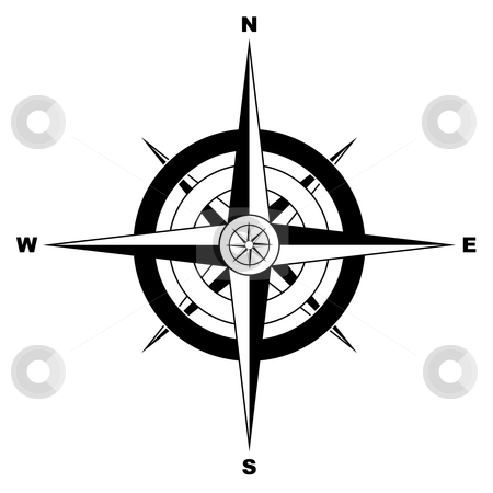 Simple compass stock vector clipart, Black and white simple illustrated compass by Michael Travers