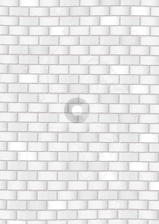 Grunge white brick wall stock vector clipart, Subtle white grunge brick wall with grey cement background by Michael Travers