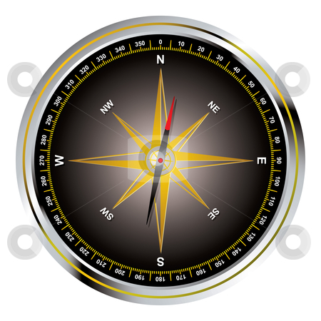 Black old fashioned compass stock vector clipart, Black and gold illustrated old fashioned compass and needle by Michael Travers