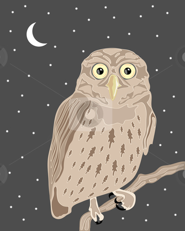 Owl stock vector clipart, A hand drawn illustration of a wise owl sat on a branch in a night sky with moon and stars in the background by Mike Smith