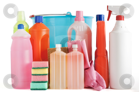 Plastic detergent bottles and bucket stock photo, Colored plastic detergent bottles with bucket, sponges and gloves isolated on white background with clipping path by ANTONIO SCARPI