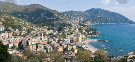 Recco, aerial view stock photo, Aerial view of Recco, small town in Liguria, Italy by ANTONIO SCARPI