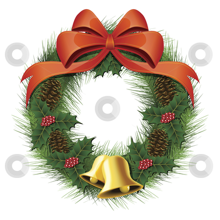 Christmas Wreath stock vector clipart, Vector illustration of a christmas wreath with a bow, pine cones, bells and berries by Karima Lakhdar