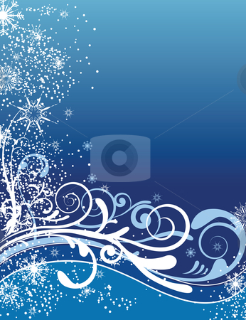 Blue Christmas Background Ornaments stock vector clipart, Vector Illustration of christmas floral background with snowflakes by Karima Lakhdar