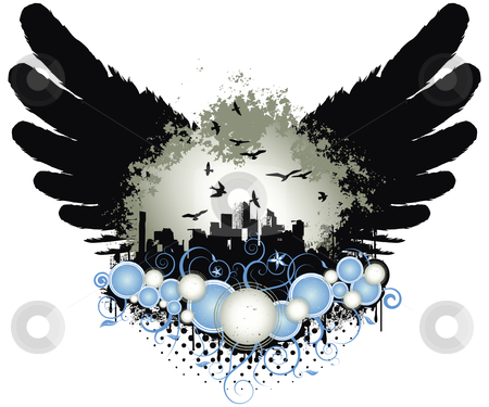 Grunge City Wings stock vector clipart, Grunge design vector illustration with wings, city and ornaments by Karima Lakhdar
