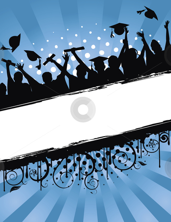 Grunge background vector illustration of a group of graduates tossing their caps in celebration of graduation
