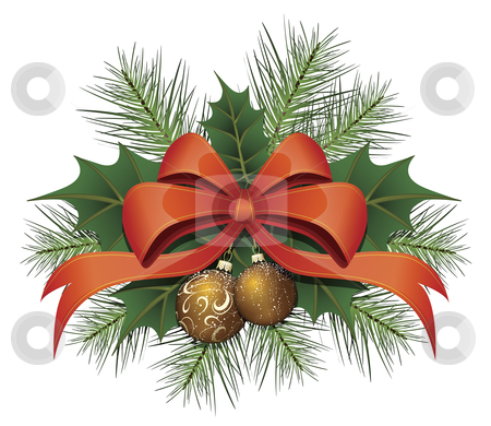 Red Christmas Bow Ribbon stock vector clipart, Red christmas bow with baubles, leaf and branches by Karima Lakhdar