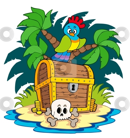 Pirate island with treasure chest stock vector clipart, Pirate island with treasure chest - vector illustration. by Klara Viskova