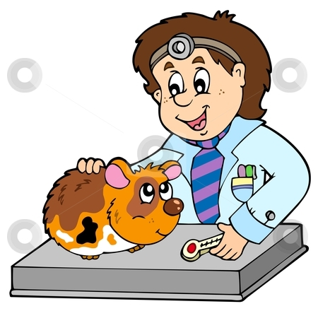 Small rodent at veterinarian stock vector clipart, Small rodent at veterinarian - vector illustration. by Klara Viskova
