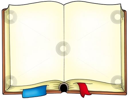 Old opened book stock photo, Old opened book - color illustration. by Klara Viskova