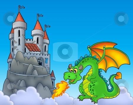 Green dragon with castle on hill stock photo, Green dragon with castle on hill - color illustration. by Klara Viskova