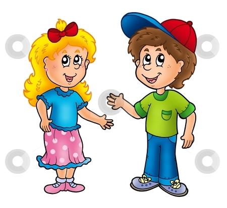 Cartoon happy girl and boy stock photo cartoon happy girl and boy