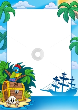 Pirate frame with treasure island stock photo, Pirate frame with treasure island - color illustration. by Klara Viskova