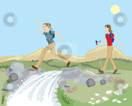 Hill walking stock vector clipart, A hand drawn illustration of a hilly landsape with a mountain stream and two women enjoying a hike in the countryside under a blue sky by Mike Smith