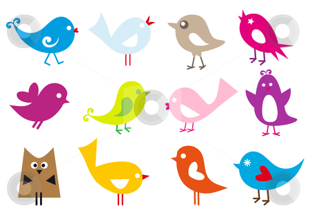 Lovely birds stock vector clipart, Set of cute vector birds by Beata Kraus