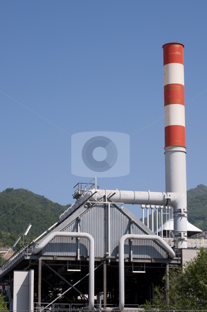 Industrial Electrical Power station stock photo, Industrial Electrical Power station,chimney red and white by Alberto Rigamonti