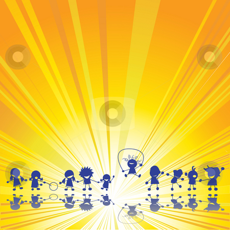 Happy children stock photo, Happy children silhouettes over summer sun rays background by Richard Laschon