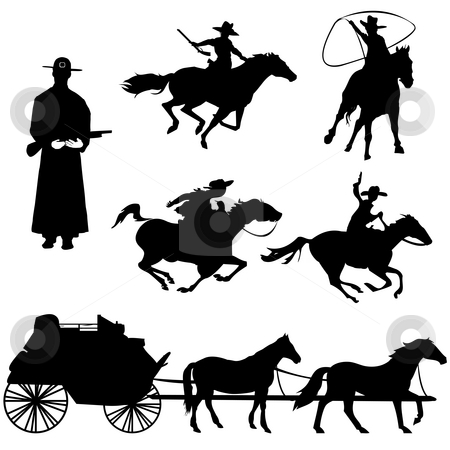 Cowboys stock photo, Hand drawn silhouettes of cowboys and horses by Richard Laschon